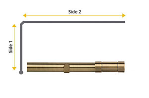 Speedy 28mm Aspect L-Shaped Bay Window Curtain Pole Antique Brass