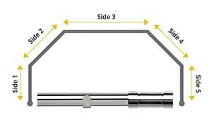 Speedy 28mm Aspect 5 Sided Bay Window Curtain Pole Chrome