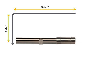 Speedy 28mm Aspect L-Shaped Bay Window Curtain Pole Polished Graphite