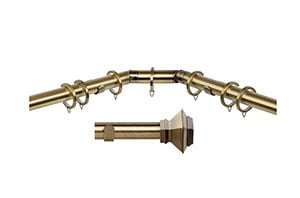 Speedy 28mm Aztec 3 Sided Bay Window Curtain Pole Antique Brass