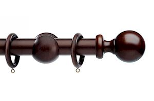 Integra 35mm Wood Works Ball Dark Oak Wooden Curtain Pole