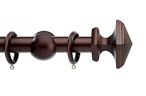 Integra 35mm Wood Works Square Dark Oak Wooden Curtain Pole