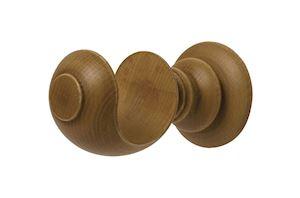 Rolls 45mm Modern Country Ribbed Ball Light Oak Wooden Curtain Pole - Thumbnail 2