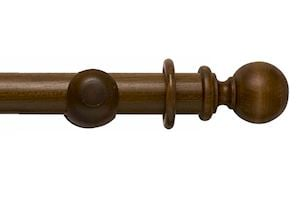 Rolls 45mm Modern Country Ball Dark Oak Wooden Curtain Pole