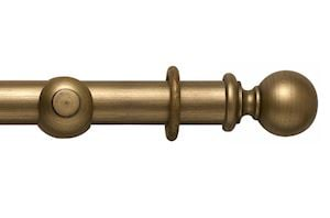 Rolls 45mm Modern Country Ball Gold Black Wooden Curtain Pole