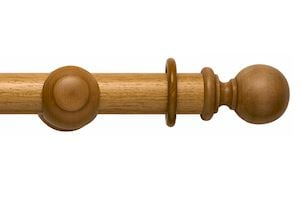 Rolls 45mm Modern Country Ball Light Oak Wooden Curtain Pole