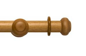 Rolls 45mm Modern Country Button Light Oak Wooden Curtain Pole