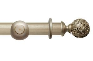 Rolls 45mm Modern Country Floral Ball Satin Silver Wooden Curtain Pole