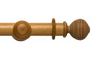 Rolls 45mm Modern Country Ribbed Ball Light Oak Wooden Curtain Pole