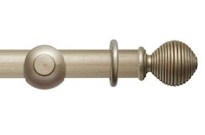 Rolls 45mm Modern Country Ribbed Ball Satin Silver Wooden Curtain Pole