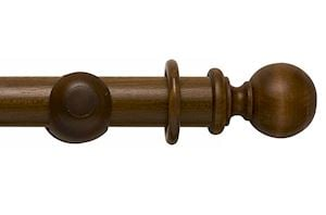 Rolls 55mm Modern Country Ball Dark Oak Wooden Curtain Pole