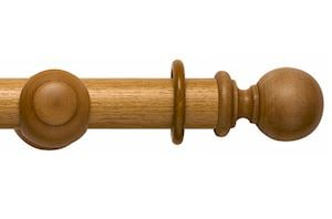 Rolls 55mm Modern Country Ball Light Oak Wooden Curtain Pole