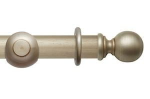 Rolls 55mm Modern Country Ball Satin Silver Wooden Curtain Pole