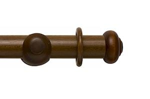 Rolls 55mm Modern Country Button Dark Oak Wooden Curtain Pole