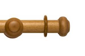 Rolls 55mm Modern Country Button Light Oak Wooden Curtain Pole