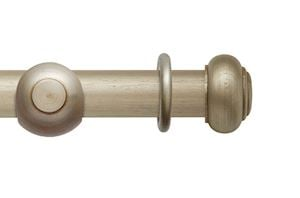 Rolls 55mm Modern Country Button Satin Silver Wooden Curtain Pole