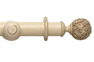 Rolls 55mm Modern Country Floral Ball Brushed Cream Wooden Curtain Pole