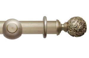 Rolls 55mm Modern Country Floral Ball Satin Silver Wooden Curtain Pole