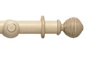 Rolls 55mm Modern Country Ribbed Ball Brushed Cream Wooden Curtain Pole