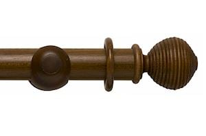 Rolls 55mm Modern Country Ribbed Ball Dark Oak Wooden Curtain Pole