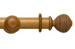 Rolls 55mm Modern Country Ribbed Ball Light Oak Wooden Curtain Pole
