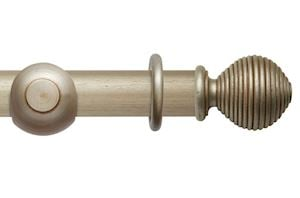 Rolls 55mm Modern Country Ribbed Ball Satin Silver Wooden Curtain Pole