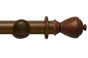 Rolls 55mm Modern Country Sugar Pot Dark Oak Wooden Curtain Pole