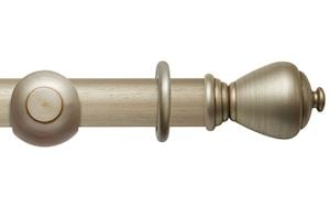 Rolls 55mm Modern Country Sugar Pot Satin Silver Wooden Curtain Pole