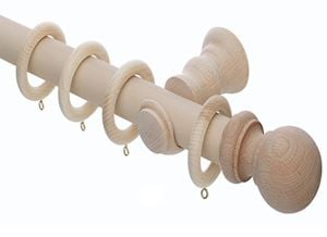 Rolls 50mm Unfinished Wooden Curtain Pole