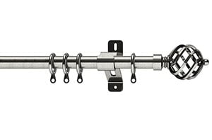 Swish Elements Titan 25-28mm Satin Steel Extendable Curtain Pole
