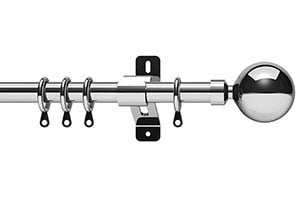 Swish 28mm Elements Zorb Chrome Metal Curtain Pole