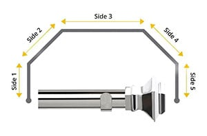 Speedy 35mm Aztec 5 Sided Bay Window Curtain Pole Chrome