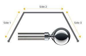 Speedy 28mm Ball 3 Sided Bay Window Curtain Pole Chrome