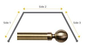 Speedy 28mm Ball 3 Sided Bay Window Curtain Pole Antique Brass