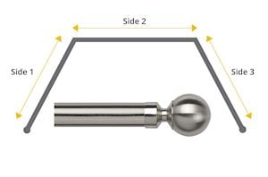 Speedy 28mm Ball 3 Sided Bay Window Curtain Pole Satin Silver
