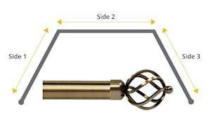 Speedy 28mm Cage 3 Sided Bay Window Curtain Pole Antique Brass