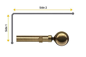 Speedy 35mm Globe 2 Sided Bay Window Curtain Pole Antique Brass