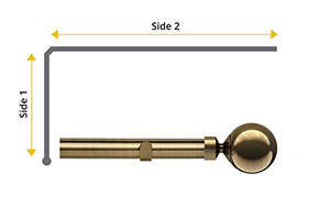 Speedy 28mm Sphere L-Shaped Bay Window Curtain Pole Antique Brass