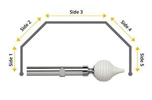 Speedy 28mm Swirl Cream 5 Sided Bay Window Curtain Pole Chrome