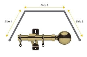 Swish 28mm Elements Belgravia Bay Window Curtain Pole Antique Brass