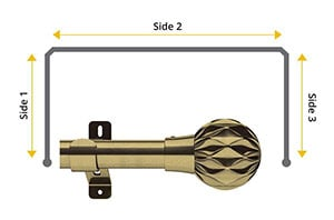 Swish 35mm Cruzar Antique Brass 3 Sided Bay Window Pole