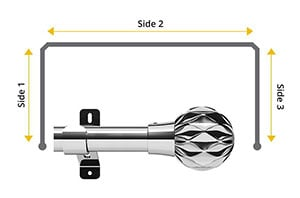 Swish Design Studio Cruzar 35mm Chrome Bay Window Curtain Pole