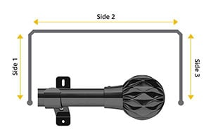 Swish Design Studio Cruzar 35mm Graphite Bay Window Curtain Pole