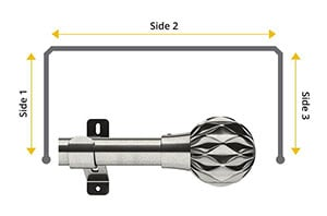 Swish Design Studio Cruzar 35mm Satin Steel Bay Window Curtain Pole