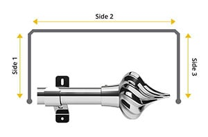 Swish Design Studio Kremlin 28mm Chrome Bay Window Curtain Pole