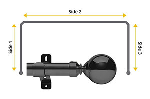 Swish Design Studio Mondiale 28mm Graphite Bay Window Curtain Pole