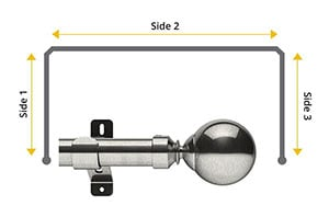 Swish Design Studio Mondiale 35mm Satin Steel Bay Window Curtain Pole