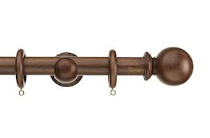 Swish 28mm Naturals Ball Dark Walnut Wooden Curtain Pole
