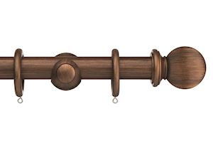 Swish 35mm Romantica Burnished Bronze Ball Wooden Curtain Pole