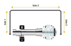 Swish Design Studio Rondelle 35mm Chrome Bay Window Curtain Pole